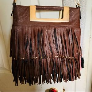 Handbags - Brown leather fringe purse